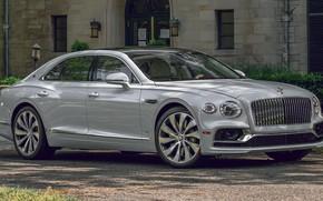 Picture machine, Bentley, sedan, side, Flying Spur, 2020, gray car, Bentley Flying Spur, premium car