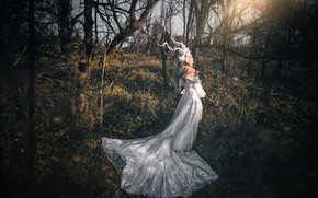 Picture forest, grass, girl, light, trees, branches, nature, pose, style, glade, fairy, blonde, costume, outfit, horns, …