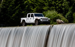 Picture white, water, stone, stream, SUV, pickup, Gladiator, 4x4, Jeep, Rubicon, 2019