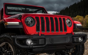 Picture red, lights, the hood, grille, bumper, the front, 2018, Jeep, Wrangler Rubicon
