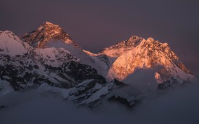 Picture winter, the sky, snow, sunset, mountains, nature, fog, rocks, the evening