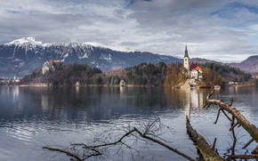 Picture mountains, Austria, Church, pond