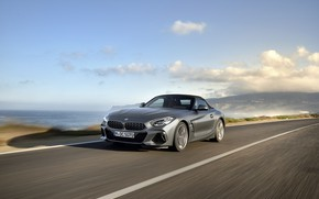 Picture road, the sky, clouds, grey, shore, BMW, Roadster, BMW Z4, M40i, Z4, 2019, G29