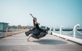 Picture girl, dance, dress, Asian