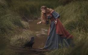 Picture girl, decoration, pose, stream, bird, dress, river, Raven, long hair, Ольга Куницкая