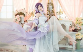 Picture chest, look, girl, light, flowers, face, pose, style, background, room, sweetheart, feet, furniture, roses, wings, …