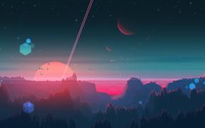 Picture Sunset, The sun, Planet, Star, Planet, Fantasy, Landscape, Planets, Star, Art, Art, Satellite, Landscape, Planet, …
