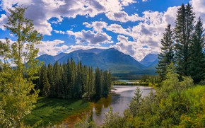 Picture forest, clouds, mountains, nature, shore, Canada, Albert, pond