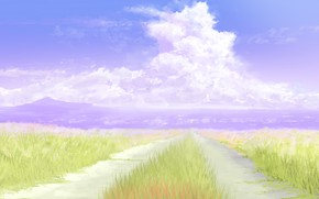 Picture road, summer, the sky, mountains