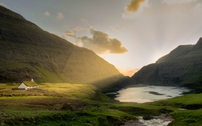Picture field, the sky, light, mountains, lake, rocks, hills, shore, morning, Church, chapel, Iceland, pond