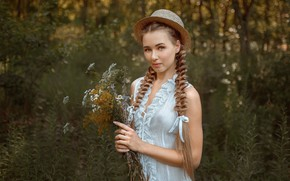 Picture look, girl, flowers, nature, hat, beautiful, braids, Albert Forest