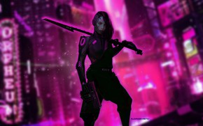 Picture Girl, The city, Robot, City, Weapons, Fantasy, Art, Art, Night, Fiction, Cyborg, Concept Art, Characters, …