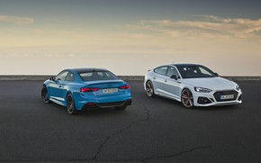 Picture sunset, Audi, the evening, pair, RS5, Coupe, Sportback, RS 5, 2020