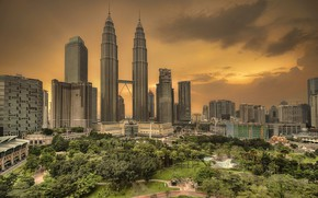 Picture road, trees, the city, Park, building, Malaysia, Kuala Lumpur