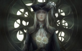 Picture girl, flowers, dry, Bloodborne, Lady Maria