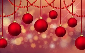 Picture winter, balls, red, lights, background, holiday, balls, vector, Christmas, red, New year, beads, stars, bokeh, …