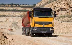 Picture orange, vegetation, truck, Renault, body, tractor, quarry, the trailer, Premium Lander, Renault Trucks
