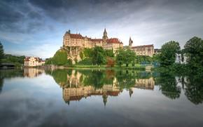 Picture river, castle, Germany, Baden-Württemberg, The Castle Of Sigmaringen