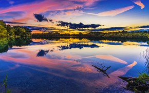 Picture Sunset, The sky, Water, Nature, Clouds, Reflection, The evening, Trees, River, Bayern, Shore, Landscape, Nature, …