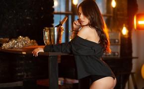 Picture look, girl, table, room, bottle, brunette, window, blouse, garland, champagne, shoulder, manicure, Anton Pechkurov, Anton …