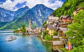Picture mountains, lake, ship, home, Austria, Hallstatt, Hallstatt