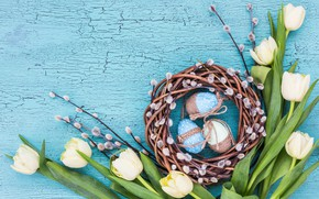 Picture holiday, Easter, socket, tulips, Verba