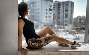 Picture pose, model, makeup, figure, dress, brunette, tattoo, window, hairstyle, sill, legs, sitting, sneakers, in black, …