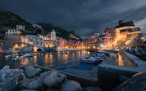 Picture stones, building, home, Bay, boats, the evening, pier, Italy, boats, promenade, Italy, harbour, boulders, Vernazza, …