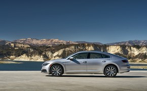 Picture Volkswagen, side view, liftback, Arteon, 2019, gray-silver, Arteon SE