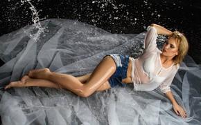 Picture water, girl, squirt, pose, feet, model, shorts, wet, blouse, tulle, Anastasia Donskaya