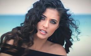 Picture girl, beach, ocean, eyes, model, pretty, singer, hair, brunette, pose, portrait, Antonia Iacobescu, charliehgl