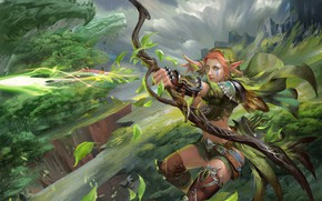 Wallpaper bow, Archer, fantasy, art, elf, shooter, april dede