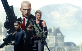 Picture weapons, art, Hitman, rifle, Agent 47
