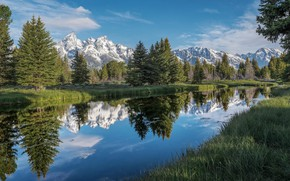 Picture Water, Reflection, Mountains, Grass, Bank, Needles, Duct, Water Mirror, Spruce Trees