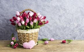 Picture love, flowers, heart, tulips, love, pink, basket, vintage, heart, wood, pink, flowers, beautiful, romantic, tulips