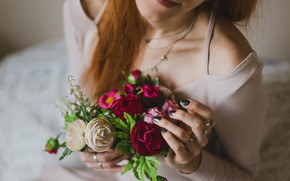 Picture girl, flowers, bouquet, hands, ring
