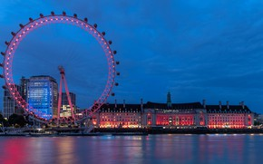 Picture the city, river, London, building, home, the evening, wheel, lighting, UK, Thames, Ferris wheel