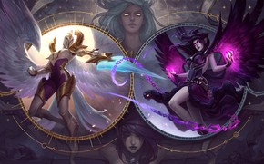 Picture light, sword, fantasy, game, magic, armor, weapon, girls, wings, angels, battle, League of Legends, digital …