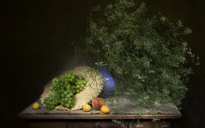 Picture greens, table, bouquet, hat, grapes, pitcher, still life, peach, apricots