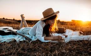 Picture summer, girl, sunset, nature, hat, book, Nicholas David Furnari