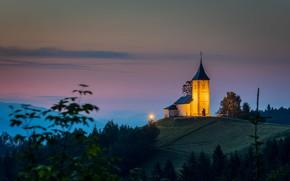Picture landscape, nature, fog, dawn, morning, backlight, hill, track, Church, twilight, Slovenia, Yamnik