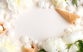 Picture flowers, ice cream, white, white, horn, flowers, beautiful, peonies, marshmallows, peonies