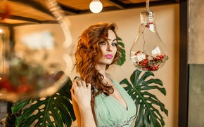 Picture pretty, redhead, look, green dress, A Diakov George