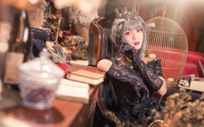 Picture look, girl, pose, style, table, room, Gothic, furniture, portrait, interior, cell, crown, dress, black, hairstyle, …