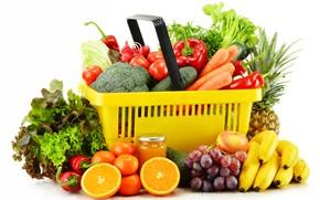 Picture fruit, basket, vegetables