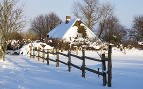 Picture winter, snow, trees, landscape, nature, house, the fence, fence, hut, the bushes