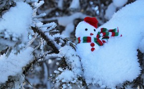 Picture winter, frost, forest, snow, nature, tree, in the snow, toy, branch, scarf, Christmas, New year, …