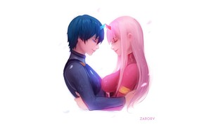 Picture girl, love, minimalism, guy, 002, Darling In The Frankxx, Cute in France, Hiro