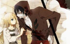 Picture girl, weapons, braid, guy, two, Angel bloodshed, Satsuriku no Tenshi