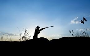 Picture shotgun, ducks, hunting, female figure